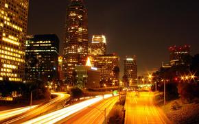 night,  city,  lights,  action,  los angeles