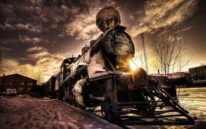 olvidado, viejo, tren, coches, Maquinaria, Coche