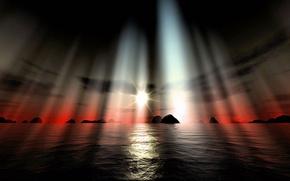 belo, pr do sol, em mar