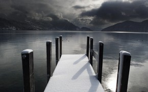 pier, Lake, snow, winter, melancholy