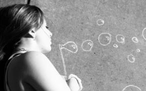 beautiful,  girl,  draw,  in,  chalk,  bubbles