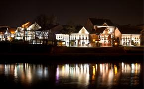 Minsk, troetskoe suburb, night, river, Svisloch, lights