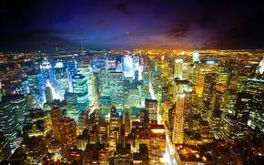 Ciudad, noche, vista desde arriba