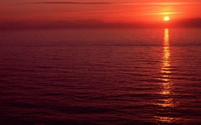 орегон, закат, красный