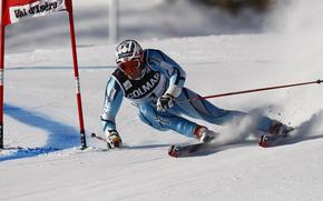skieur, descente, jeux
