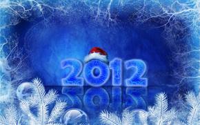 2012, New Year, cap, Snowflakes, figures