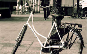 street, column, bicycle