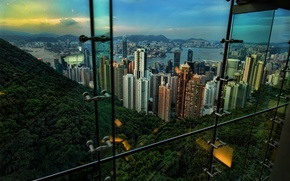 Hong Kong,, form, out of the window