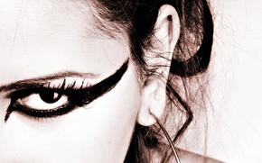глаз, макияж, ресницы. ухо