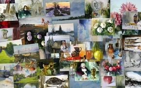 collage, di, dipinti, artista
