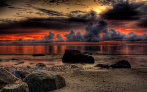 nature, landscape, sunset, beach, sea, ocean, sky, rocks