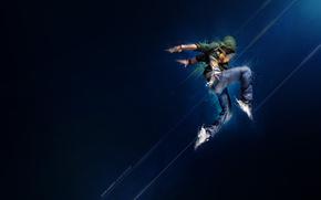 hombre, bailar, movimiento