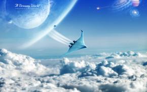 полёт, облака, шатл