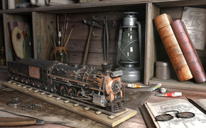 train, lamp, Brushes, Books, Tools