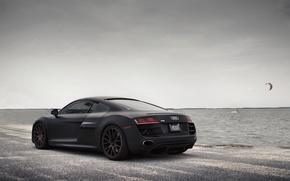 audi, r8, black, sea, Tuning, matt, Audi, cars, machinery, Car