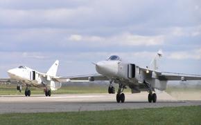 самолет, бомбардировщик, СУ-24М, пара на взлете, форсаж