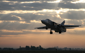 самолет, бомбардировщик, СУ-24М, взлет по ночному