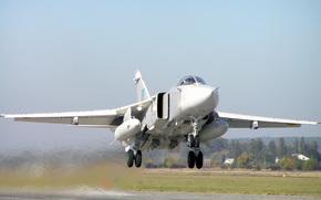 самолет, бомбардировщик, СУ-24М, вылет на бомбометание