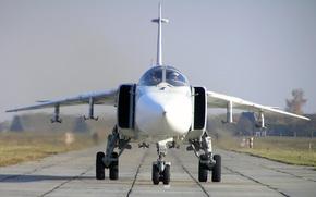 самолет, бомбордировщик, СУ-24М, возвращение с боевого задания