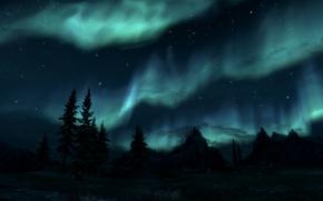 The Elder Scrolls 5,  Skyrim,  небо,  солнечное сияние,  сосны,  горы,  звезды