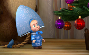 Masha e l'Orso, cartone animato, ragazza, Snow-maiden, abete, Palle di Natale