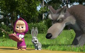 Masha e l'Orso, ragazza, lepre, lupo, telefono