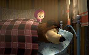 Masha y el oso, nia, tener, duerme