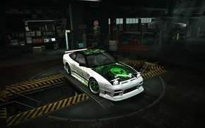 nfs, mundo, 240sx, Nissan, s13, juego, OVNI, verde