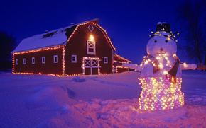 snowman, home, garland, lights, snow, winter