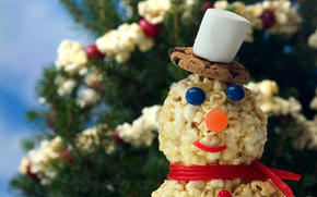 New Year, snowman, Sweets, popcorn, candy, Tree