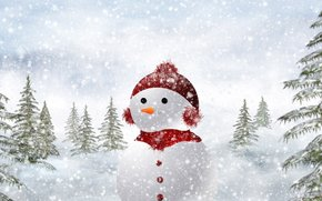 snowman, winter, snow, Trees