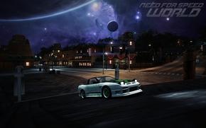nfs mundo, Nissan, 240sx, necesario para la velocidad, mquina, cielo, Estrella, planeta