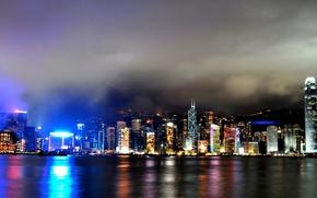 night,  city,  lights,  Hong-Kong