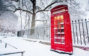 invierno, telfono, cabina