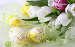 Flowers, Tulips, eggs, Easter, holiday