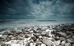 景观, 石头, 海, 风暴, 风暴, 云