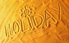 Fine settimana, spiaggia, iscrizione, sabbia, riposo, mare, sole