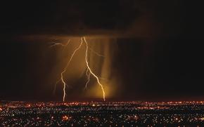city, lights, lightning