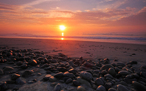 landscapes, Beautiful sunsets, Beaches, stone, stones, form, place, beauty, coast, coast, sun, sky, heaven, water, sea, ocean