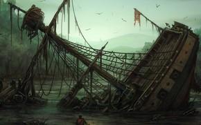 lantern, ship, Figure