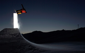 snowboard, springboard, light, night