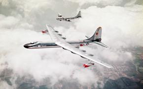 два,  самолёта,  бомбардировщики,  небо,  земля,  поля,  облака