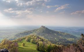 гора,  замок,  долина,  лес