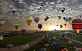 воздушный шар,  небо,  цвета,  полет