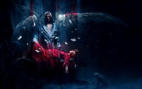 angelo, ali, piumaggio, sangue, ragazza, rosso, vestire, catena, gatto, vittima