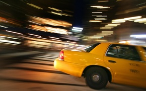 taxi, speed, lights, cars, machinery, Car