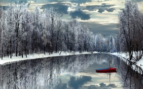 冬季, 森林, 河, 船