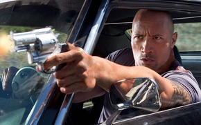 Dwayne Johnson, rock, actor, faster than a bullet, muzhik, the wrestler, gun, machine, view