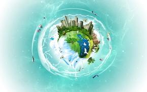 планета,  город,  самолет,  воздушный шар,  деревья,  человек