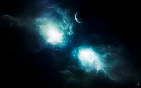 Planeta, Estrella, luz, espacio